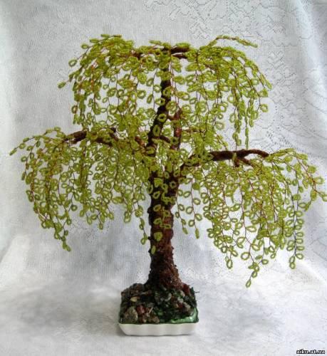 дерево из бисера плакучая ива - Современное бисероплетение.