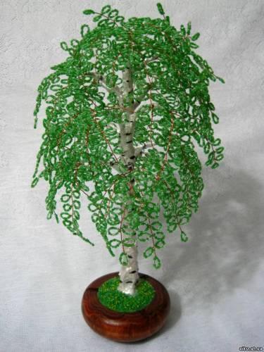 деревья из бисера ''Молодая берёза.