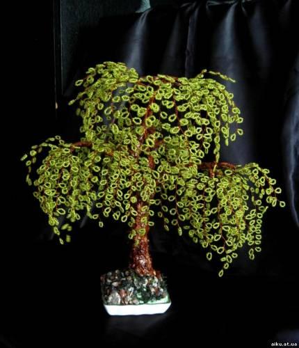 Дерево из бисера плакучая ива высота
