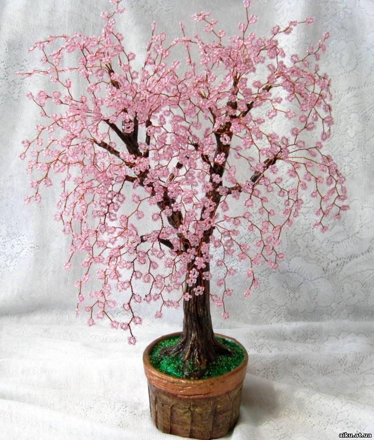дерево сакуры из бисера - Baby.  Бисер: деревья, букеты, украшения / Цветы, флористика. аудиометрия как обмануть.